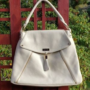 Onna Ehrlich Ivory Leather Pebbled Kelly Hobo Bag